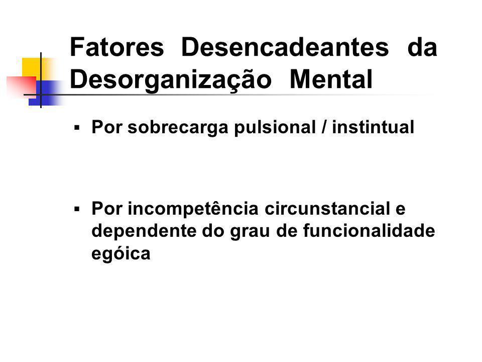 Fatores Desencadeantes da Desorganização Mental Por sobrecarga pulsional / instintual Por incompetência circunstancial e dependente do grau de funcion