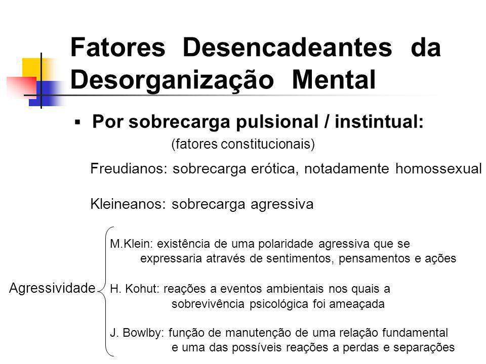 Por sobrecarga pulsional / instintual: (fatores constitucionais) M.Klein: existência de uma polaridade agressiva que se expressaria através de sentime