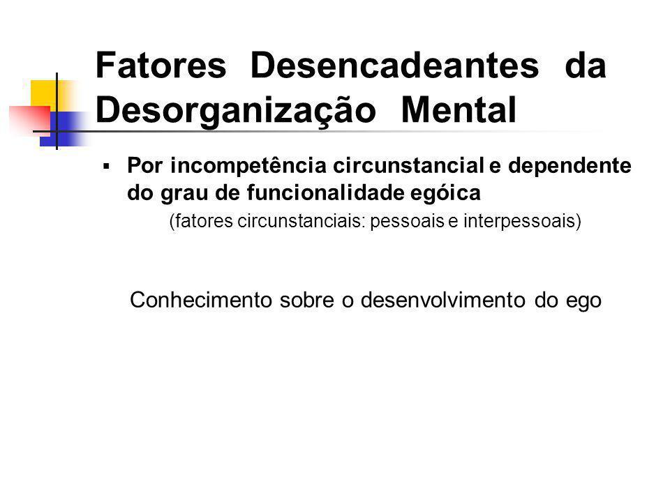 Por incompetência circunstancial e dependente do grau de funcionalidade egóica (fatores circunstanciais: pessoais e interpessoais) Conhecimento sobre