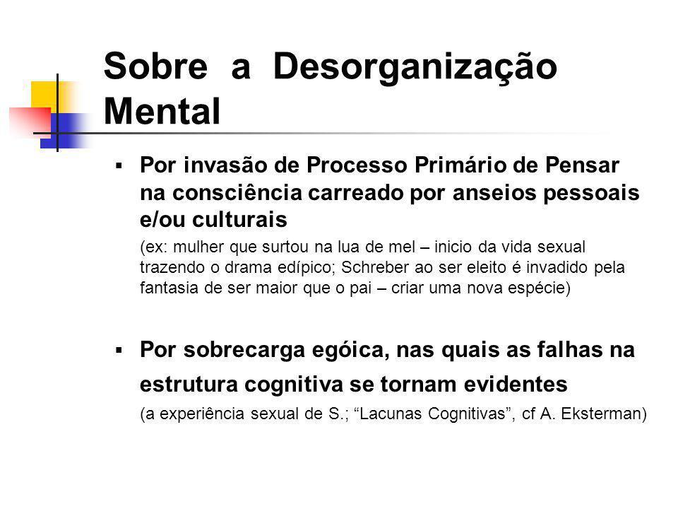 Sobre a Desorganização Mental Por invasão de Processo Primário de Pensar na consciência carreado por anseios pessoais e/ou culturais (ex: mulher que s