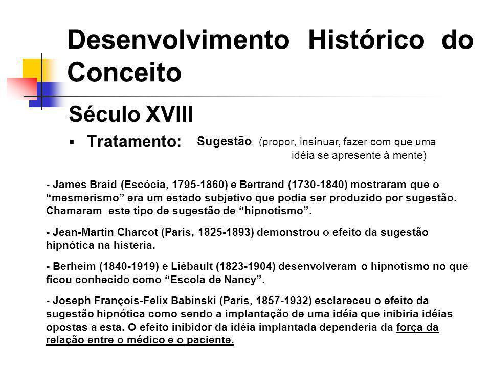 Século XVIII Tratamento: Desenvolvimento Histórico do Conceito Sugestão (propor, insinuar, fazer com que uma idéia se apresente à mente) - James Braid