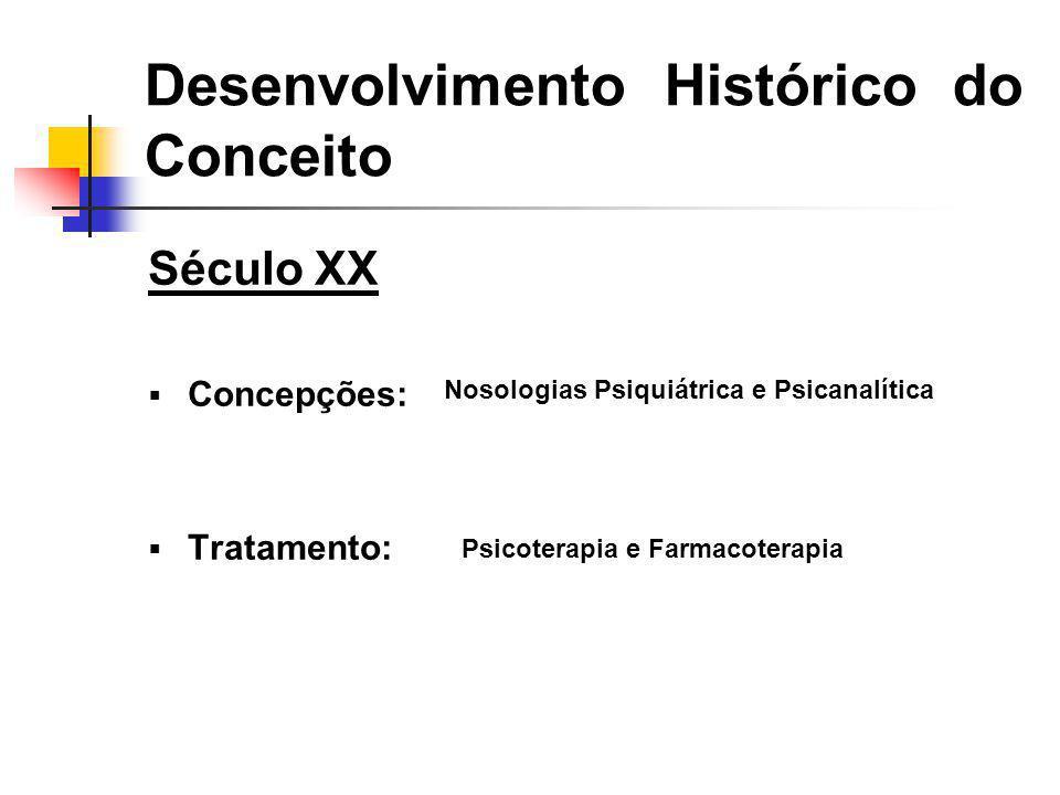 Século XX Concepções: Tratamento: Desenvolvimento Histórico do Conceito Nosologias Psiquiátrica e Psicanalítica Psicoterapia e Farmacoterapia