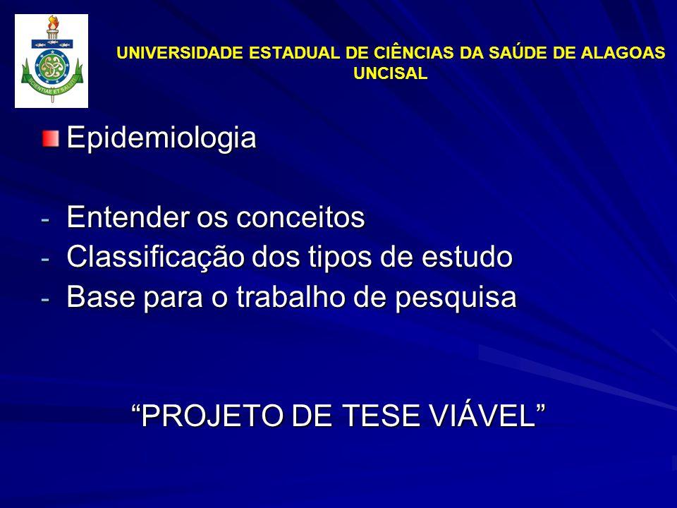 UNIVERSIDADE ESTADUAL DE CIÊNCIAS DA SAÚDE DE ALAGOAS UNCISAL Epidemiologia - Entender os conceitos - Classificação dos tipos de estudo - Base para o trabalho de pesquisa PROJETO DE TESE VIÁVEL