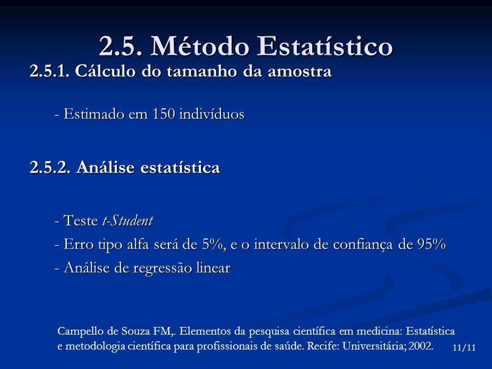 2.5. Método Estatístico 2.5.1. Cálculo do tamanho da amostra - Estimado em 150 indivíduos 2.5.2. Análise estatística - Teste t-Student - Erro tipo alf