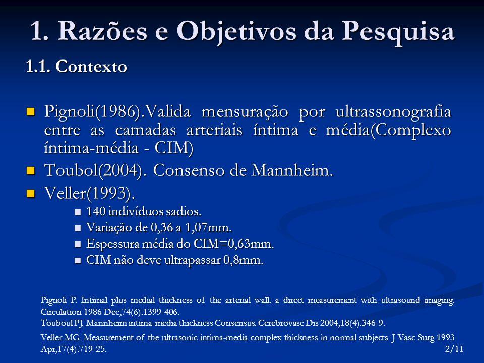 1. Razões e Objetivos da Pesquisa 1.1. Contexto Pignoli(1986).Valida mensuração por ultrassonografia entre as camadas arteriais íntima e média(Complex