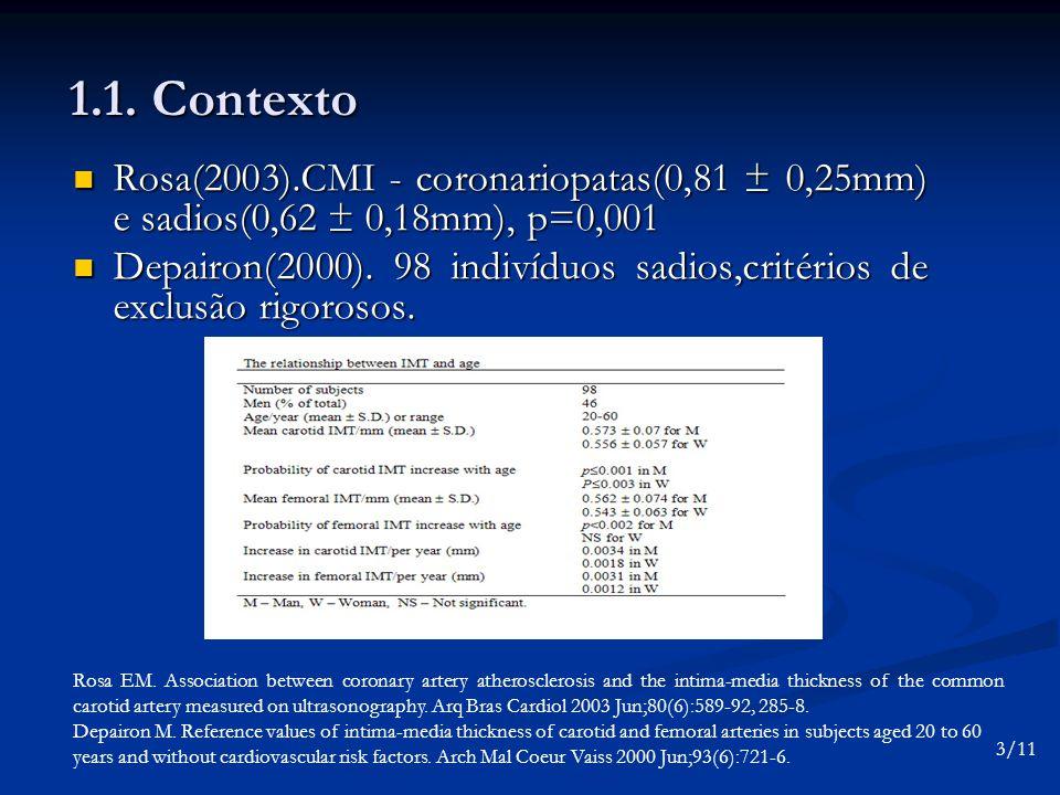 1.1. Contexto Rosa(2003).CMI - coronariopatas(0,81 ± 0,25mm) e sadios(0,62 ± 0,18mm), p=0,001 Rosa(2003).CMI - coronariopatas(0,81 ± 0,25mm) e sadios(