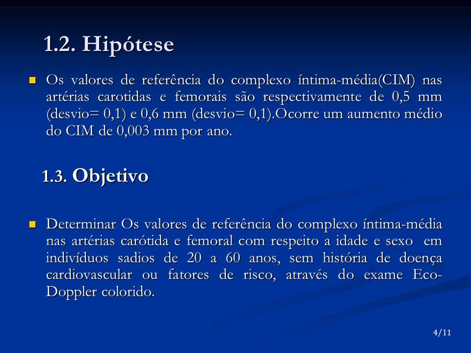 1.2. Hipótese Os valores de referência do complexo íntima-média(CIM) nas artérias carotidas e femorais são respectivamente de 0,5 mm (desvio= 0,1) e 0