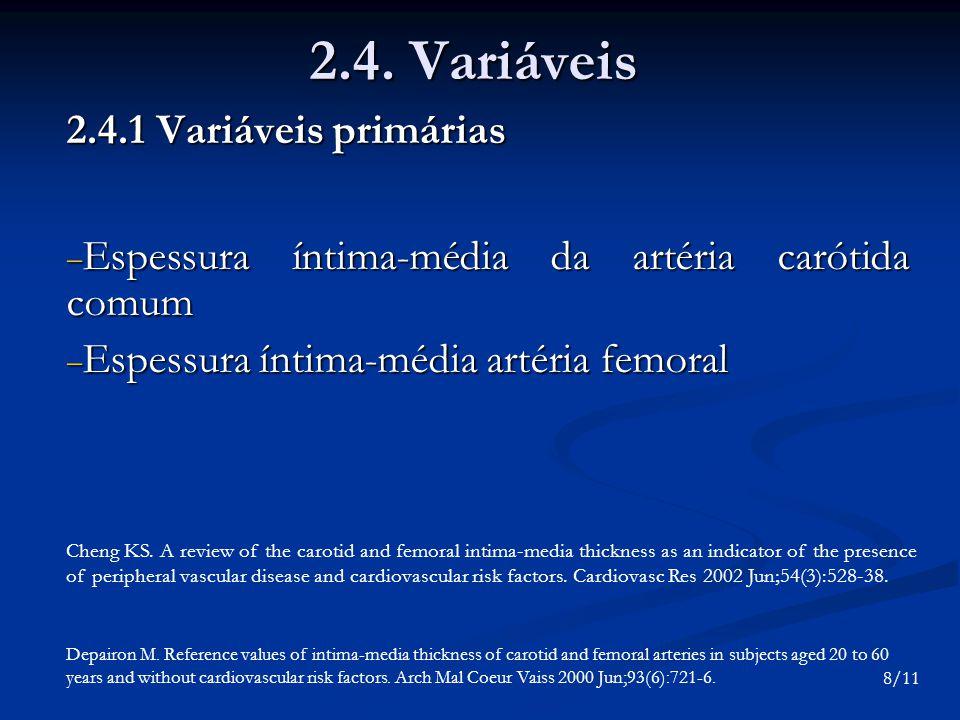 2.4. Variáveis 2.4.1 Variáveis primárias Espessura íntima-média da artéria carótida comum Espessura íntima-média da artéria carótida comum Espessura í