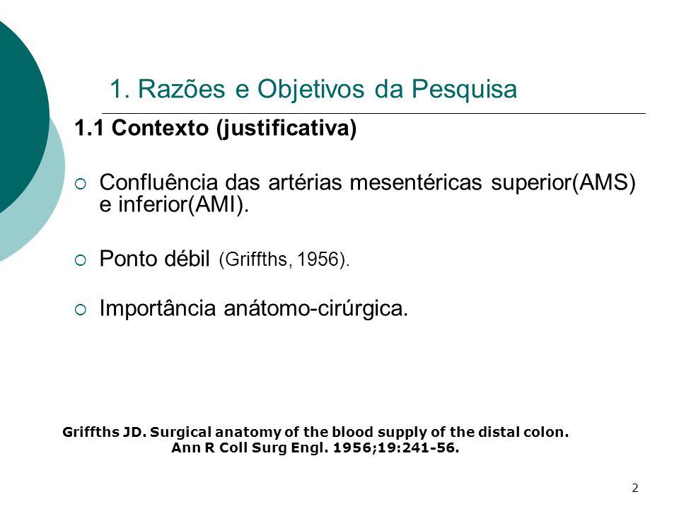 2 1. Razões e Objetivos da Pesquisa 1.1 Contexto (justificativa) Confluência das artérias mesentéricas superior(AMS) e inferior(AMI). Ponto débil (Gri