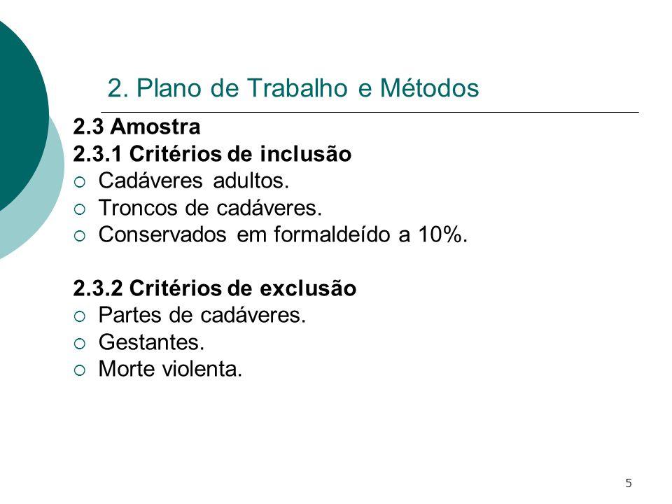 5 2. Plano de Trabalho e Métodos 2.3 Amostra 2.3.1 Critérios de inclusão Cadáveres adultos. Troncos de cadáveres. Conservados em formaldeído a 10%. 2.