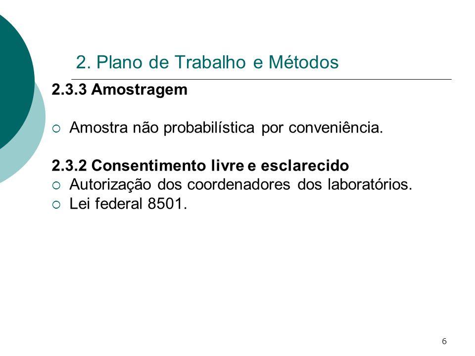 6 2. Plano de Trabalho e Métodos 2.3.3 Amostragem Amostra não probabilística por conveniência. 2.3.2 Consentimento livre e esclarecido Autorização dos