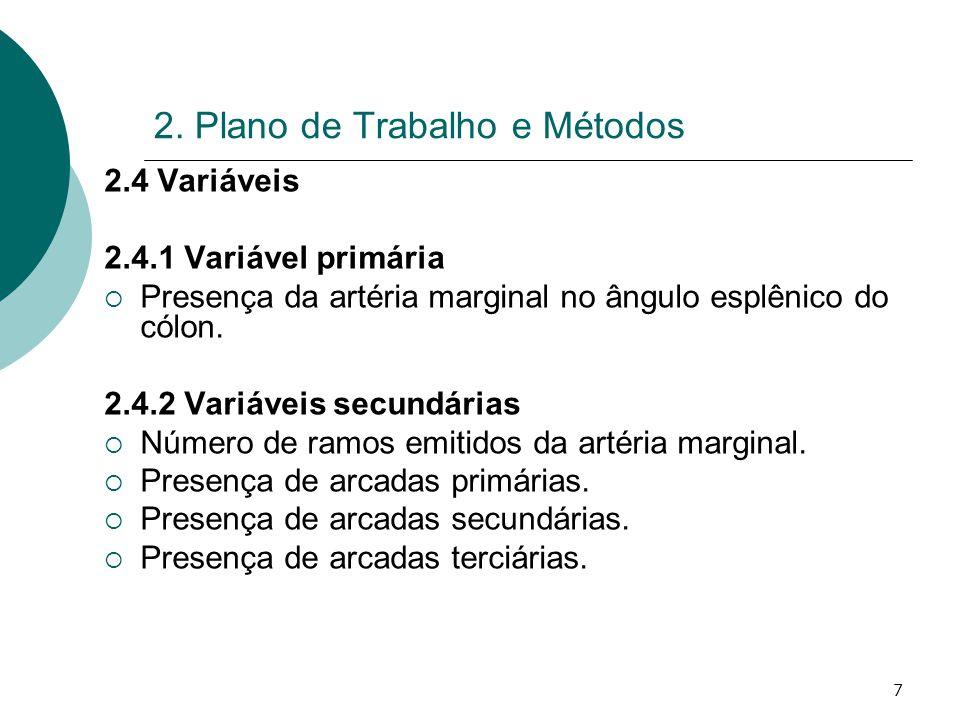 7 2. Plano de Trabalho e Métodos 2.4 Variáveis 2.4.1 Variável primária Presença da artéria marginal no ângulo esplênico do cólon. 2.4.2 Variáveis secu