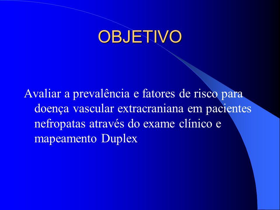 OBJETIVO Avaliar a prevalência e fatores de risco para doença vascular extracraniana em pacientes nefropatas através do exame clínico e mapeamento Dup