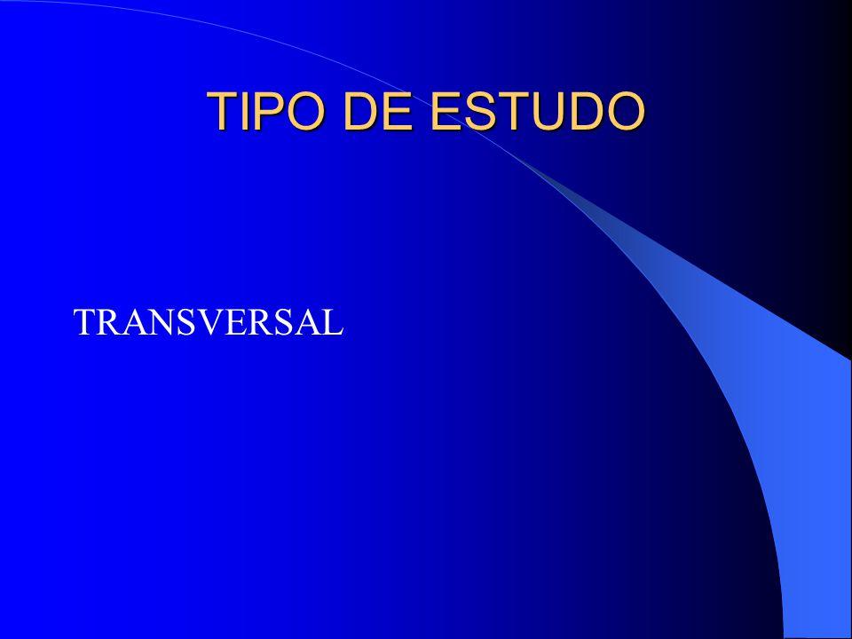 TIPO DE ESTUDO TRANSVERSAL