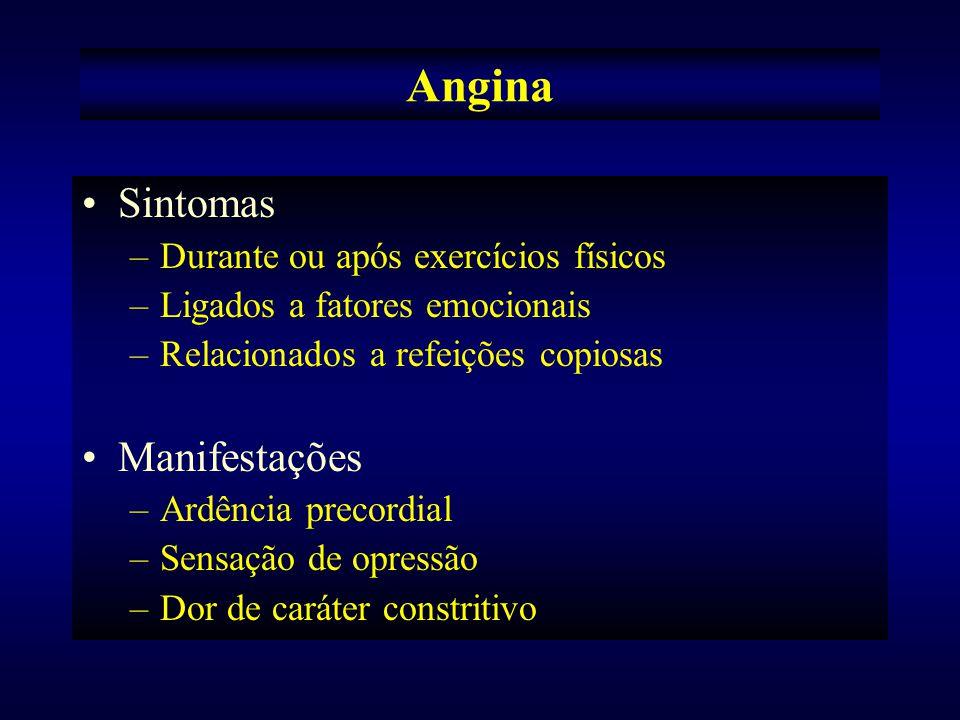 Predispostos em: –Homens de meia idade –Obesos –Sedentários –Hábitos alimentares extravagantes Conjunto de sintomas foi rotulado como Angina Pectoris.