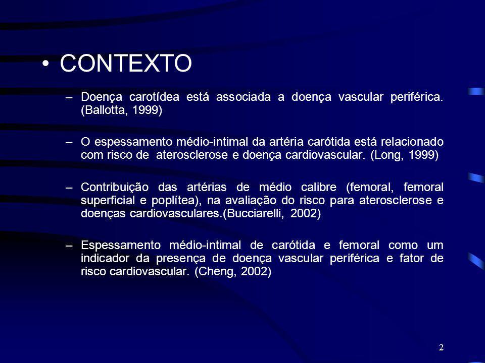 2 CONTEXTO –Doença carotídea está associada a doença vascular periférica. (Ballotta, 1999) –O espessamento médio-intimal da artéria carótida está rela