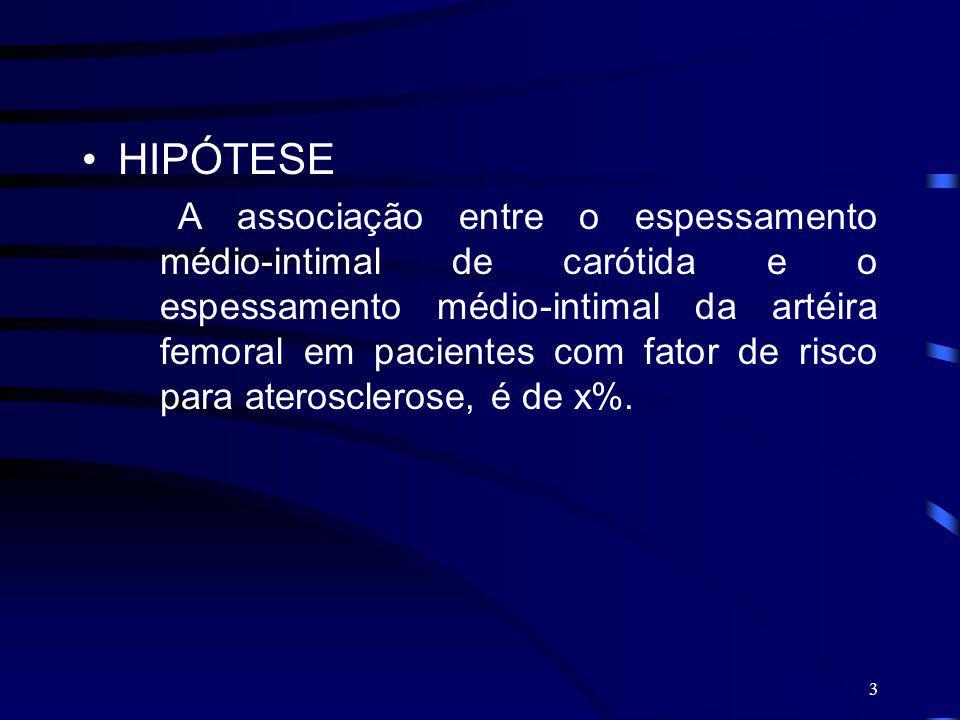 4 OBJETIVO Avaliar a associação do espessamento médio-intimal entre artéria carótida e artéria femoral em pacientes com fator de risco para aterosclerose avaliados ao eco doppler.