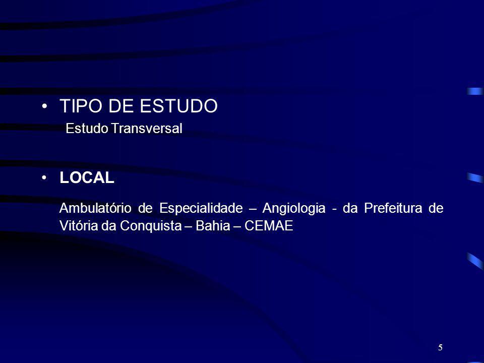 5 TIPO DE ESTUDO Estudo Transversal LOCAL Ambulatório de Especialidade – Angiologia - da Prefeitura de Vitória da Conquista – Bahia – CEMAE