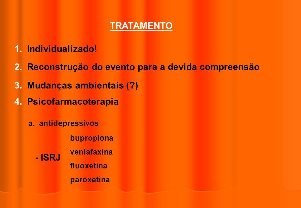 TRATAMENTO 1. Individualizado! 2. Reconstrução do evento para a devida compreensão 3. Mudanças ambientais (?) 4. Psicofarmacoterapia a. antidepressivo