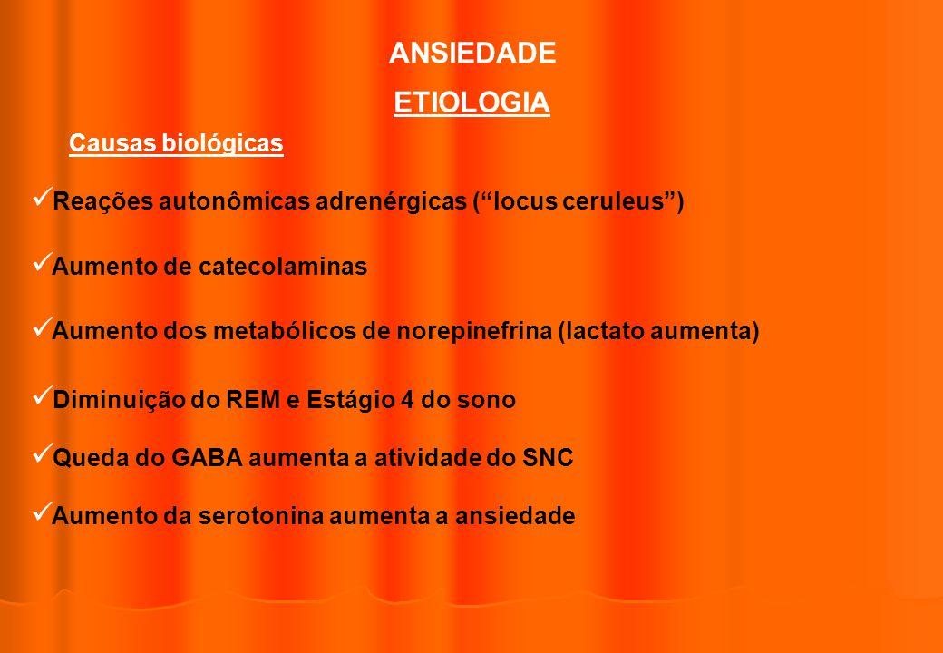 ANSIEDADE ETIOLOGIA Causas biológicas Reações autonômicas adrenérgicas (locus ceruleus) Aumento de catecolaminas Aumento dos metabólicos de norepinefr