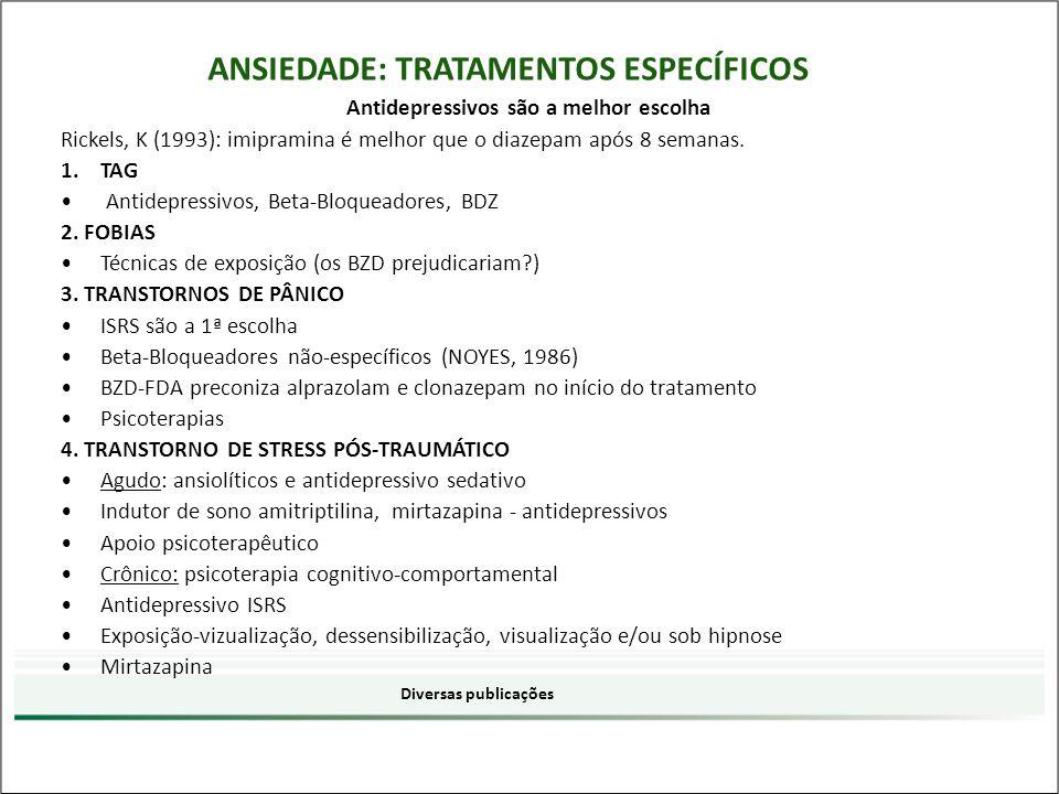 Antidepressivos são a melhor escolha Rickels, K (1993): imipramina é melhor que o diazepam após 8 semanas. 1.TAG Antidepressivos, Beta-Bloqueadores, B