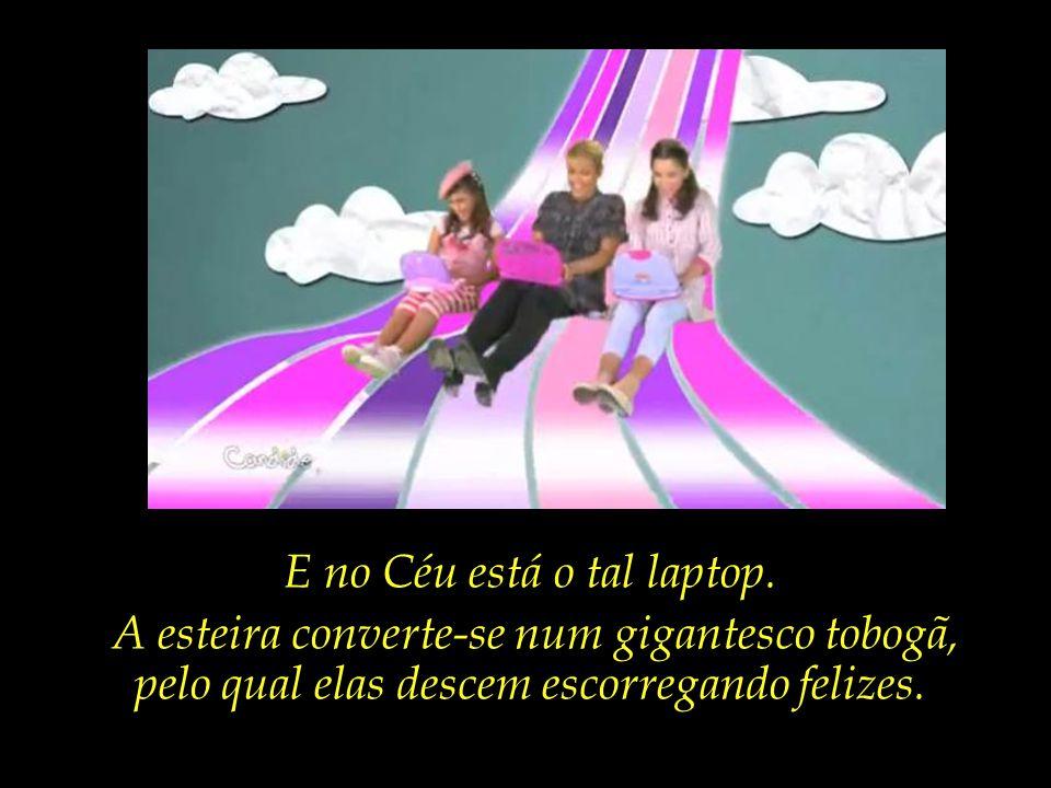Nesta hora, entram em cena os efeitos especiais, e uma esteira colorida leva as três até o Céu.