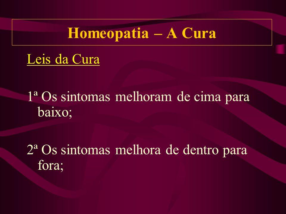 Leis da Cura 1ª Os sintomas melhoram de cima para baixo; 2ª Os sintomas melhora de dentro para fora; Homeopatia – A Cura