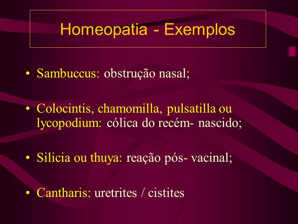 Homeopatia - Exemplos Sambuccus: obstrução nasal; Colocintis, chamomilla, pulsatilla ou lycopodium: cólica do recém- nascido; Silicia ou thuya: reação pós- vacinal; Cantharis: uretrites / cistites