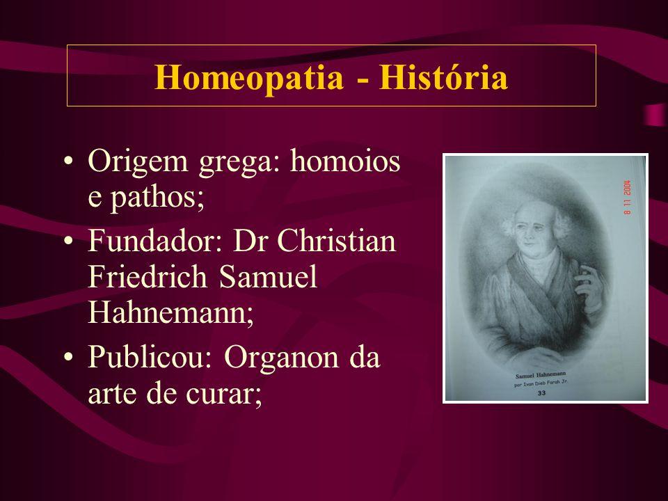 Origem grega: homoios e pathos; Fundador: Dr Christian Friedrich Samuel Hahnemann; Publicou: Organon da arte de curar; Homeopatia - História