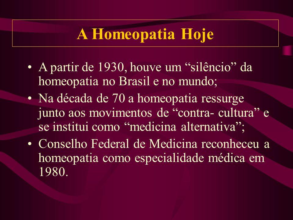 A partir de 1930, houve um silêncio da homeopatia no Brasil e no mundo; Na década de 70 a homeopatia ressurge junto aos movimentos de contra- cultura e se institui como medicina alternativa; Conselho Federal de Medicina reconheceu a homeopatia como especialidade médica em 1980.