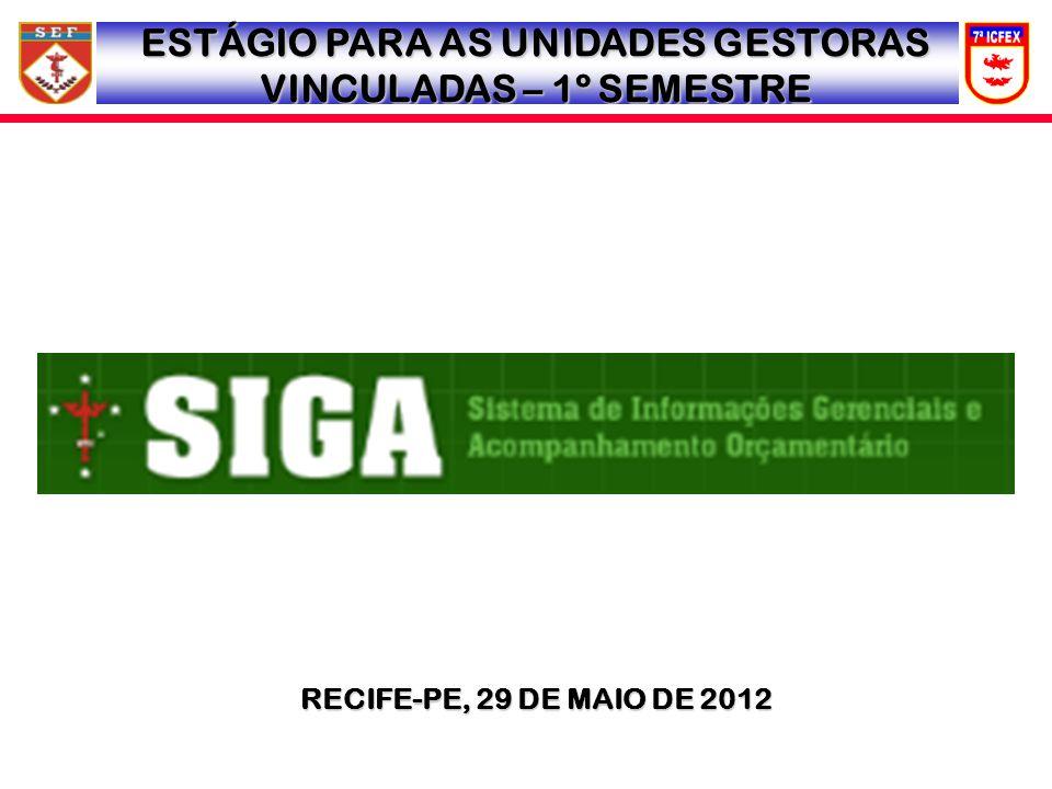 RECIFE-PE, 29 DE MAIO DE 2012 ESTÁGIO PARA AS UNIDADES GESTORAS VINCULADAS – 1º SEMESTRE