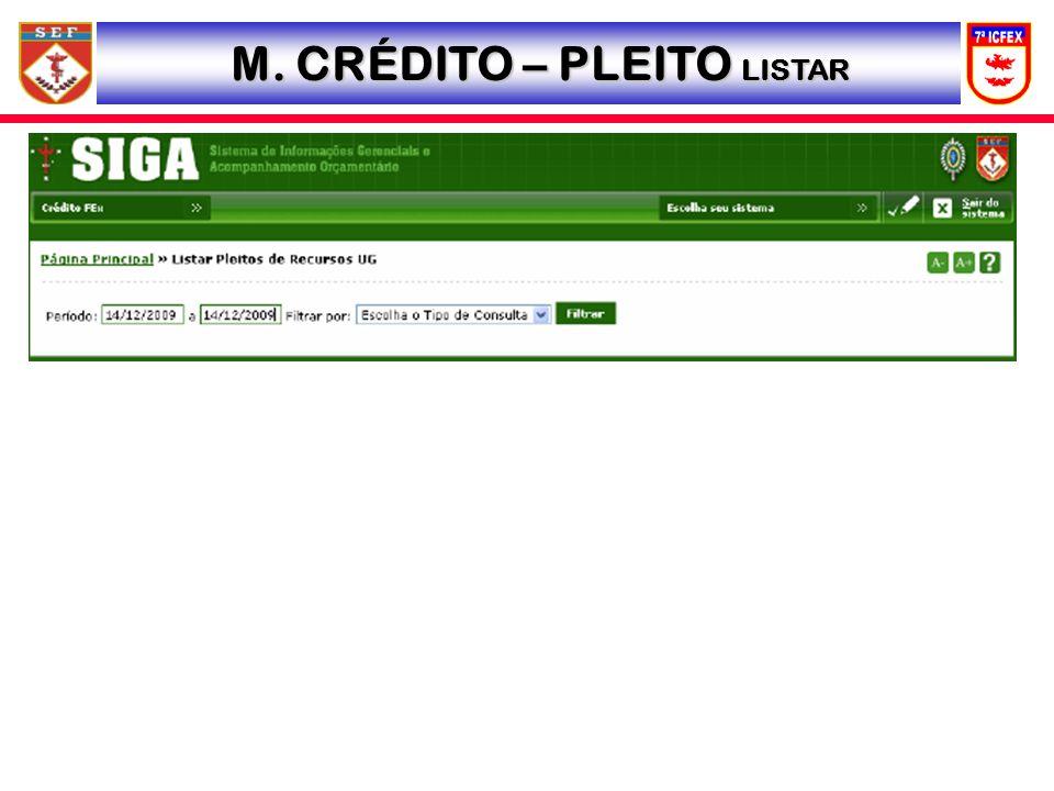 M. CRÉDITO – PLEITO LISTAR