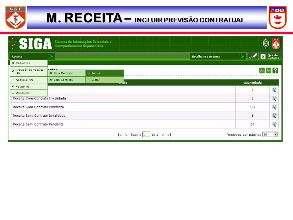 M. RECEITA – INCLUIR PREVISÃO CONTRATUAL
