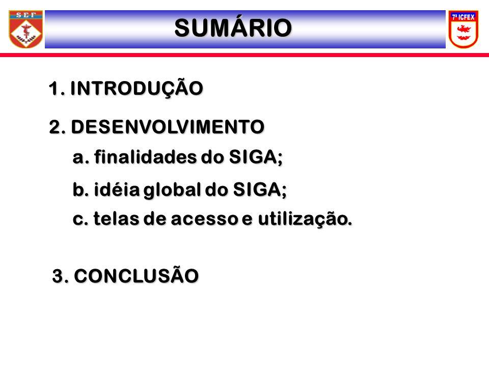 SUMÁRIO 1. INTRODUÇÃO 2. DESENVOLVIMENTO a. finalidades do SIGA; b. idéia global do SIGA; c. telas de acesso e utilização. 3. CONCLUSÃO