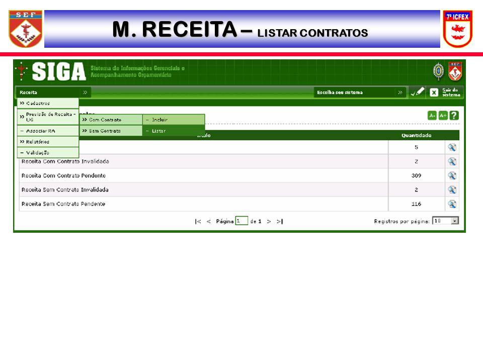 M. RECEITA – LISTAR CONTRATOS