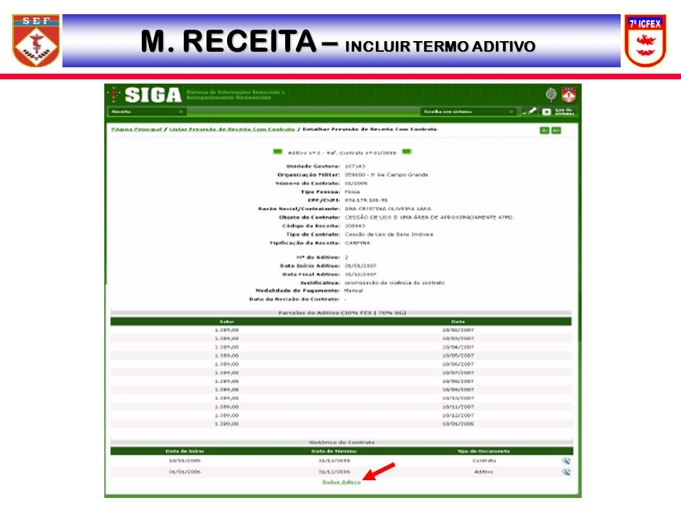 M. RECEITA – INCLUIR TERMO ADITIVO