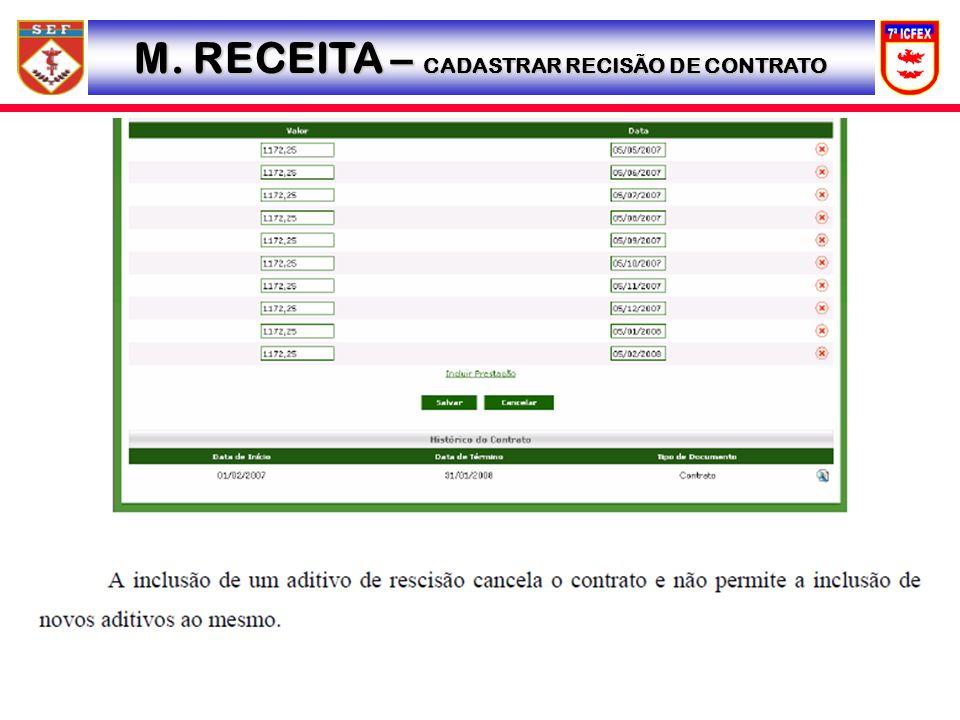 M. RECEITA – CADASTRAR RECISÃO DE CONTRATO