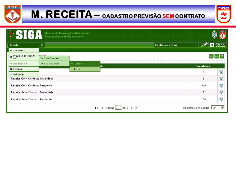 M. RECEITA – CADASTRO PREVISÃO SEM CONTRATO