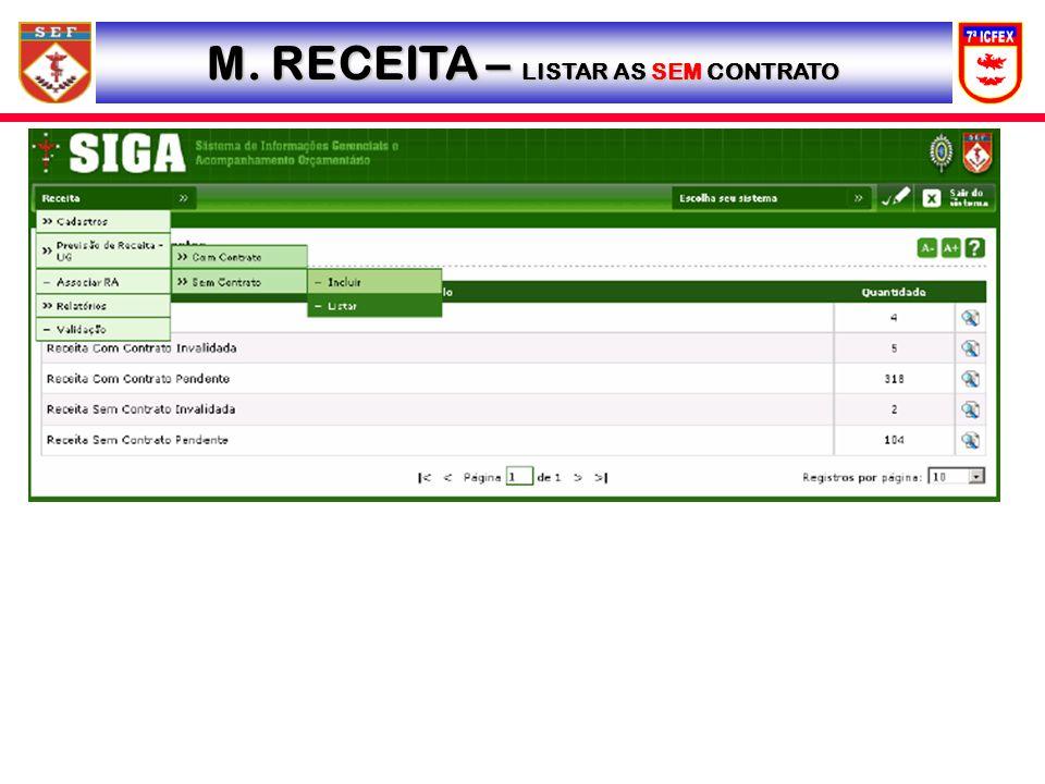 M. RECEITA – LISTAR AS SEM CONTRATO