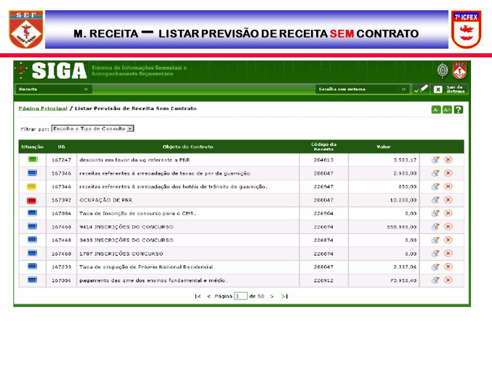 M. RECEITA – LISTAR PREVISÃO DE RECEITA SEM CONTRATO