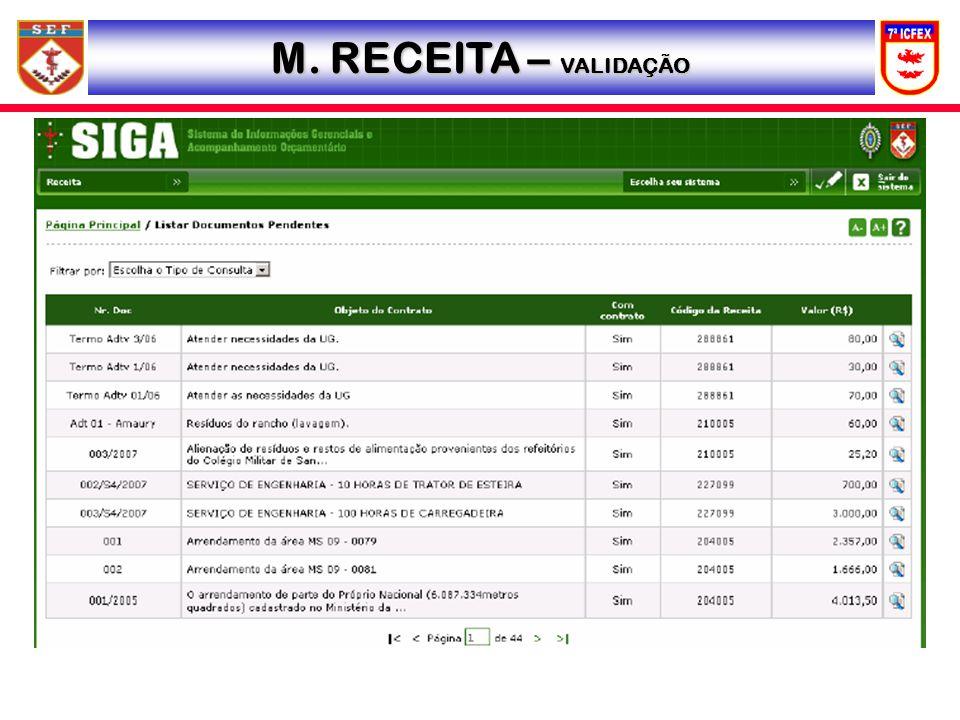 M. RECEITA – VALIDAÇÃO