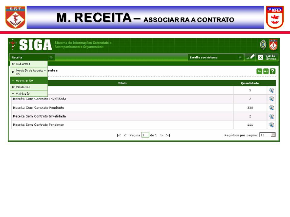 M. RECEITA – ASSOCIAR RA A CONTRATO