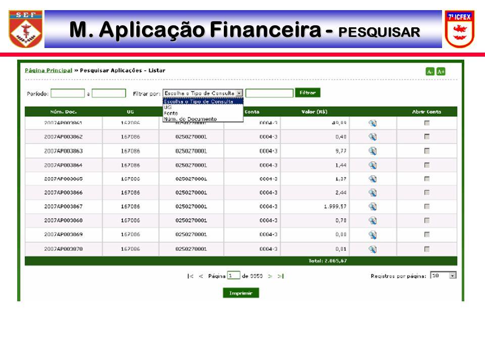 M. Aplicação Financeira - PESQUISAR