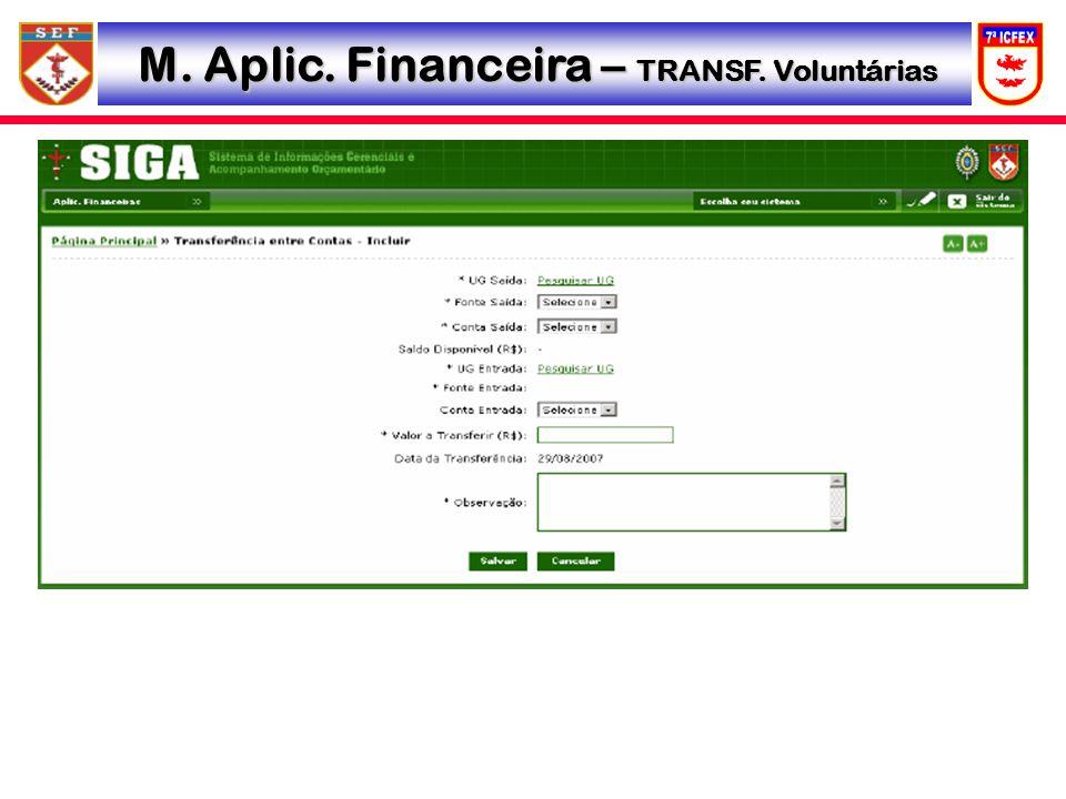 M. Aplic. Financeira – TRANSF. Voluntárias