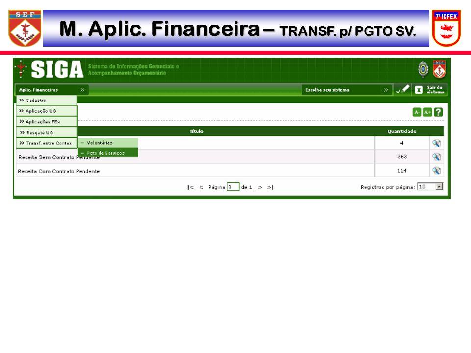 M. Aplic. Financeira – TRANSF. p/ PGTO SV.
