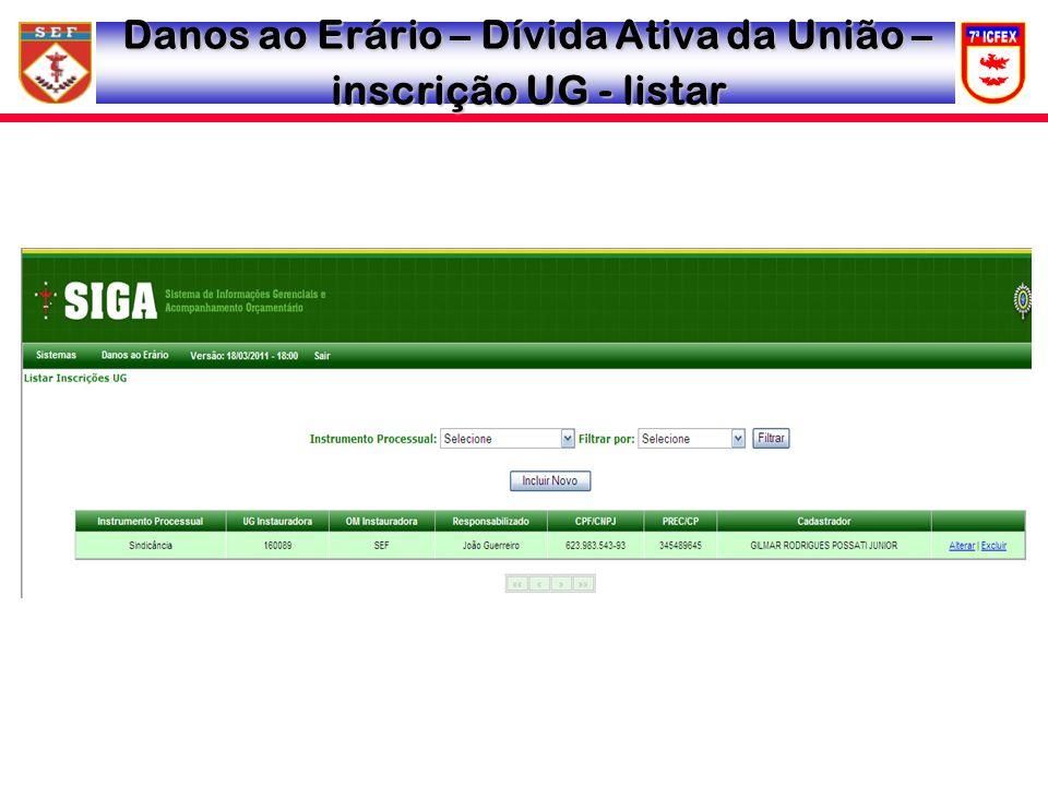 Danos ao Erário – Dívida Ativa da União – inscrição UG - listar
