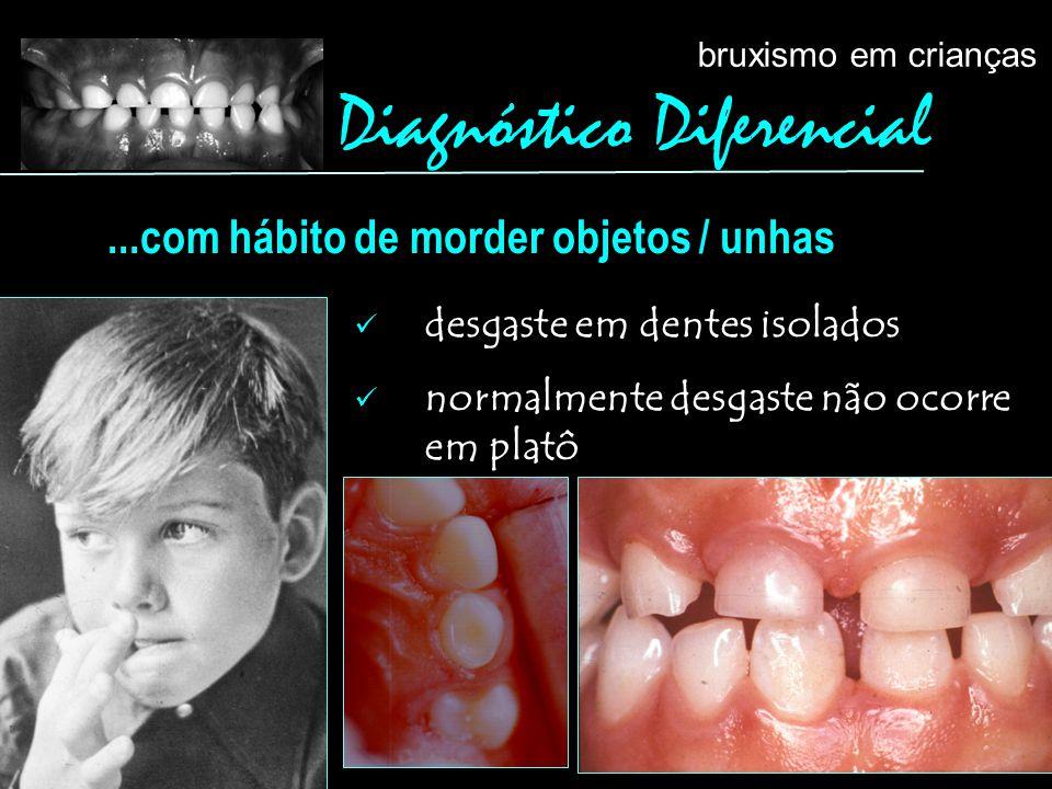 desgaste em dentes isolados normalmente desgaste não ocorre em platô...com hábito de morder objetos / unhas Diagnóstico Diferencial bruxismo em crianç