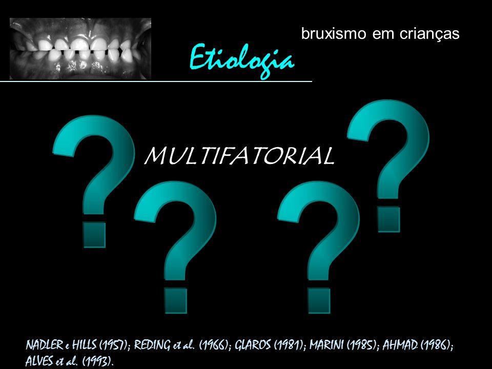 NADLER e HILLS (1957); REDING et al. (1966); GLAROS (1981); MARINI (1985); AHMAD (1986); ALVES et al. (1993). MULTIFATORIAL Etiologia bruxismo em cria