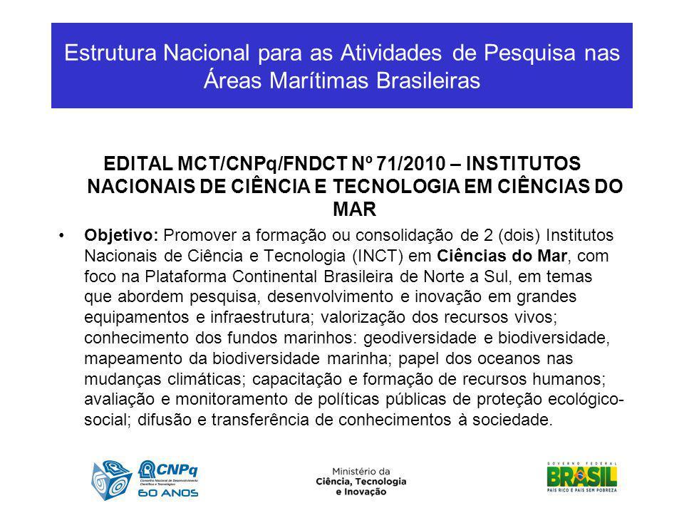 Estrutura Nacional para as Atividades de Pesquisa nas Áreas Marítimas Brasileiras EDITAL MCT/CNPq/FNDCT Nº 71/2010 – INSTITUTOS NACIONAIS DE CIÊNCIA E