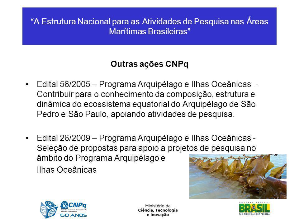 A Estrutura Nacional para as Atividades de Pesquisa nas Áreas Marítimas Brasileiras Outras ações CNPq Edital 56/2005 – Programa Arquipélago e Ilhas Oc